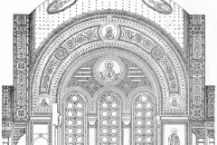 Настенная роспись над арками витражированных окон - Монигетти