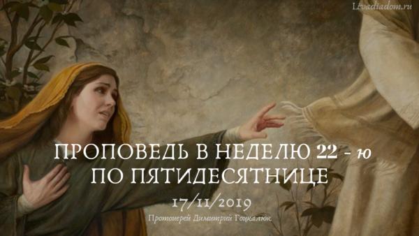 Проповедь в Неделю 22-ю